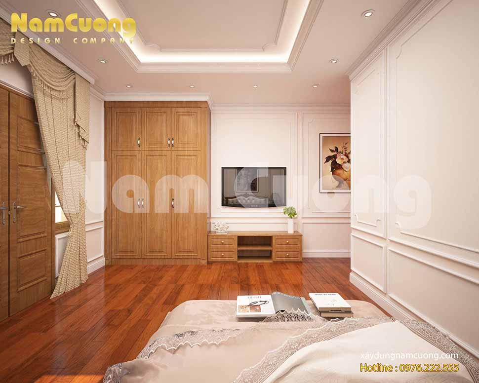 Thiết kế phòng ngủ 25m2 tân cổ điển