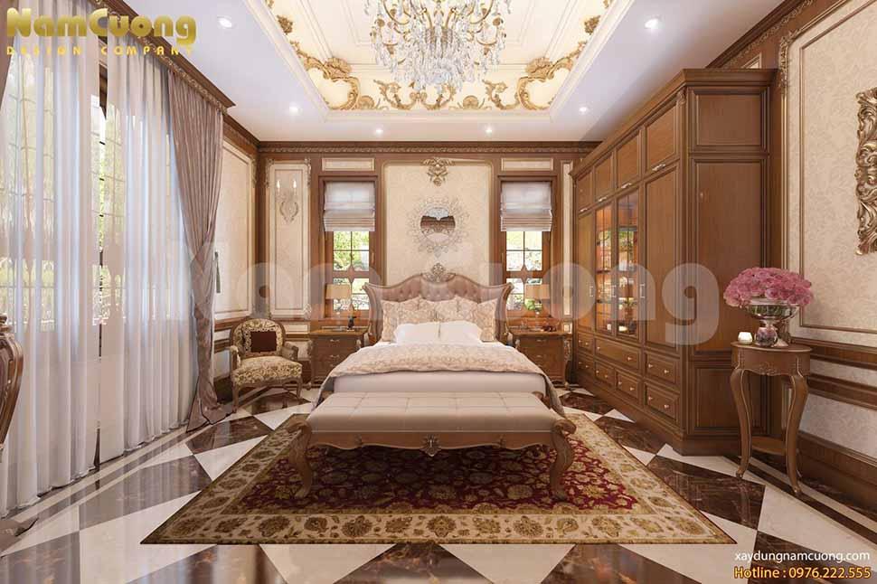 thiết kế phòng ngủ kiểu cổ điển biệt thự