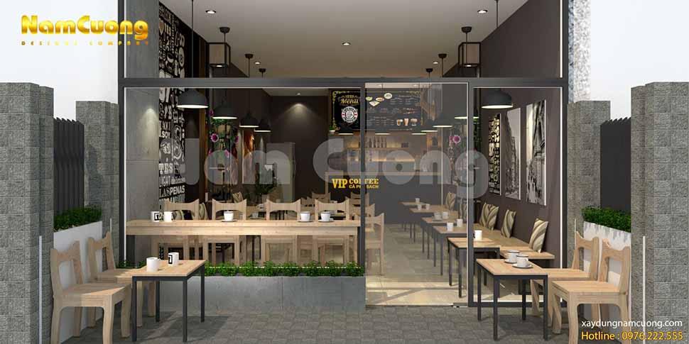 không gian quán cafe rộng 50m2