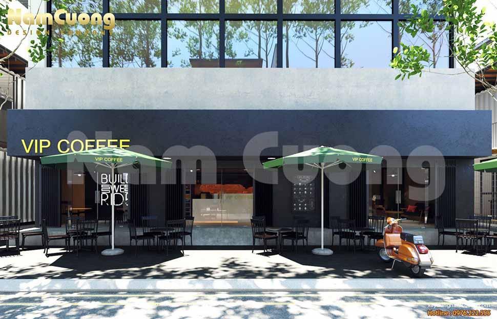 mặt tiền quán cafe hiện đại