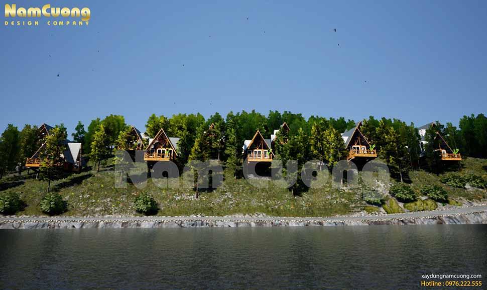 Thiết kế resort nghỉ dưỡng Thủy Hoàng Nguyên với hồ nước rộng lớn điều hòa không khí