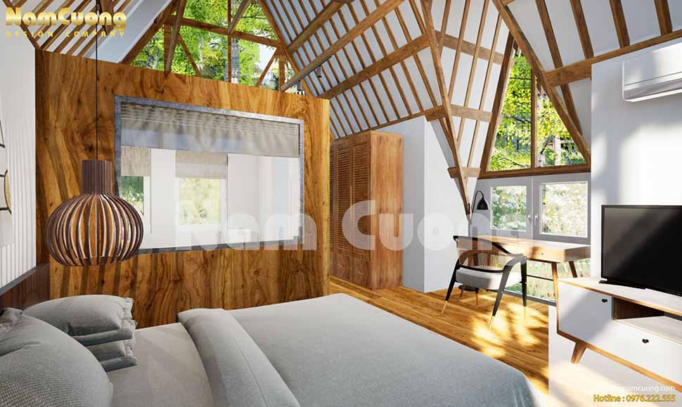 Diện tích mỗi bungalows nhỏ nhưng vẫn đầy đủ nội thất hiện đại, tiện nghi