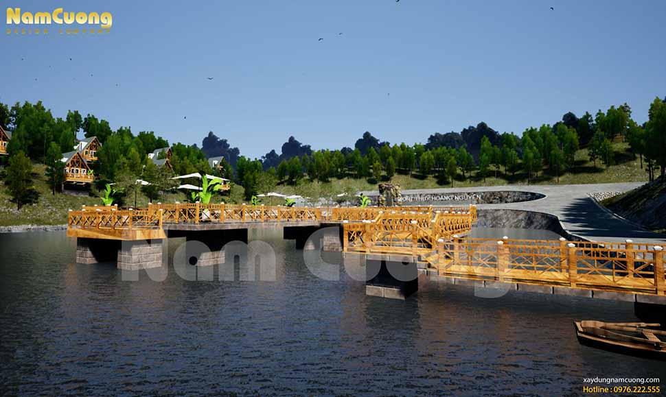 Cây cầu gỗ dẫn ra giữa hồ-nơi du khách có thể thưởng thức cafe tại đây