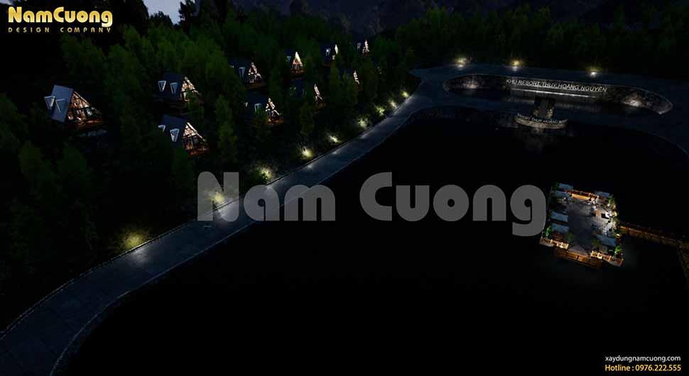 Vẻ đẹp lung linh của resort Thủy Hoàng Nguyên về đêm