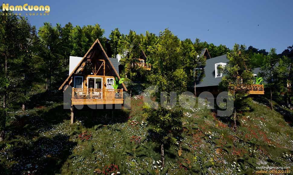 Thiết kế bungalow làm từ vật liệu gỗ mang đến cảm giác gần gũi, thân thiện với thiên nhiên