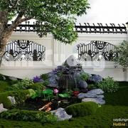 thiết kế sân vườn bên hông nhà uy tín