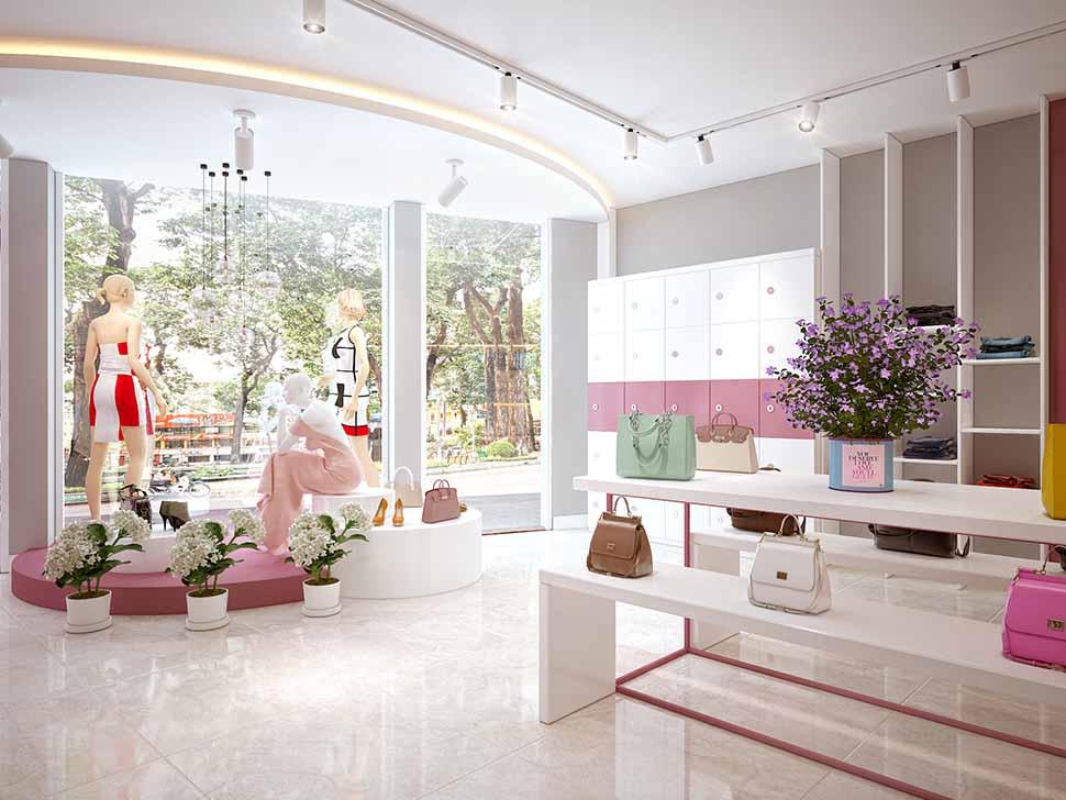 không gian tầng 1 shop thời trang