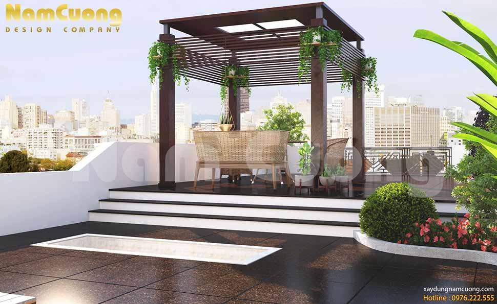 xây bồn hoa trên sân thượng