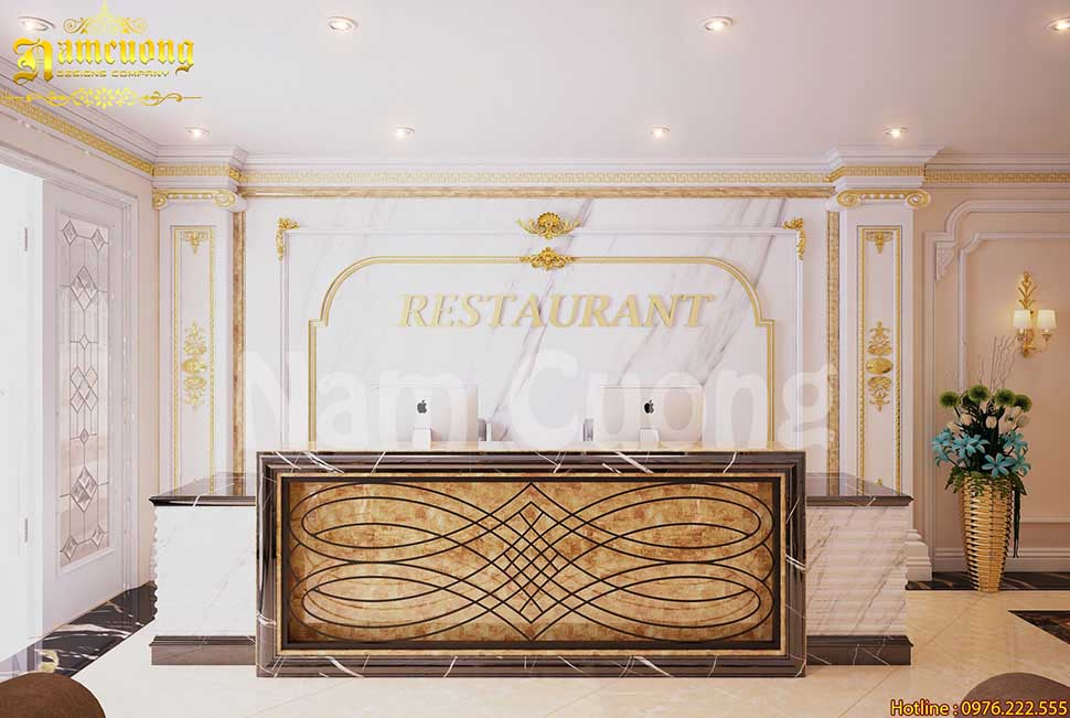 thiết kế sảnh nhà hàng chay