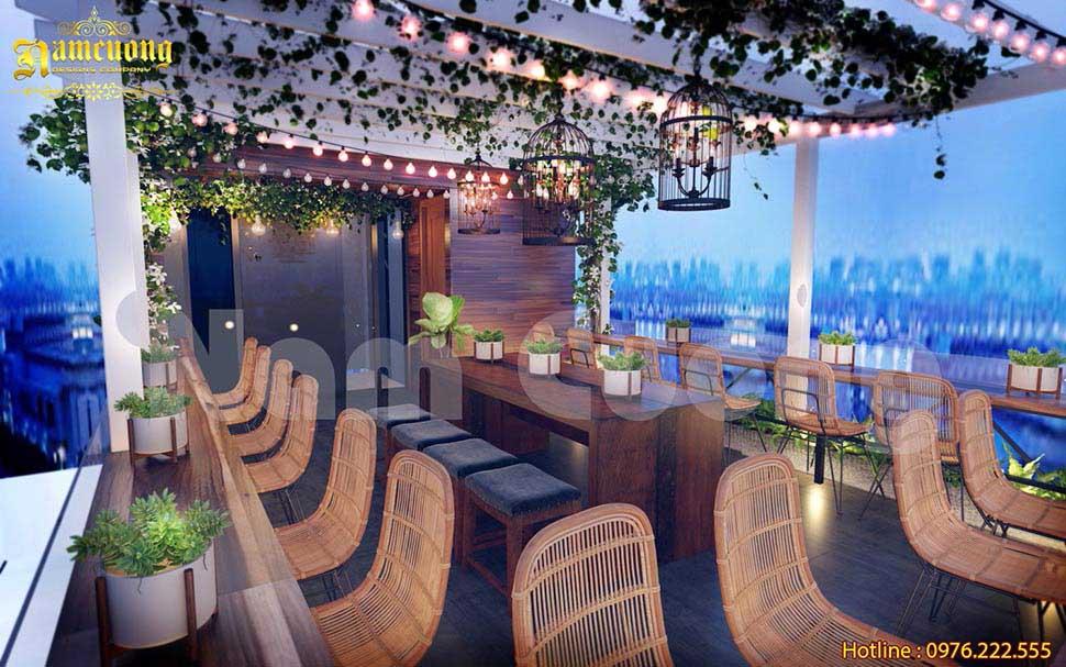 tầng thượng nhà phố kinh doanh cafe