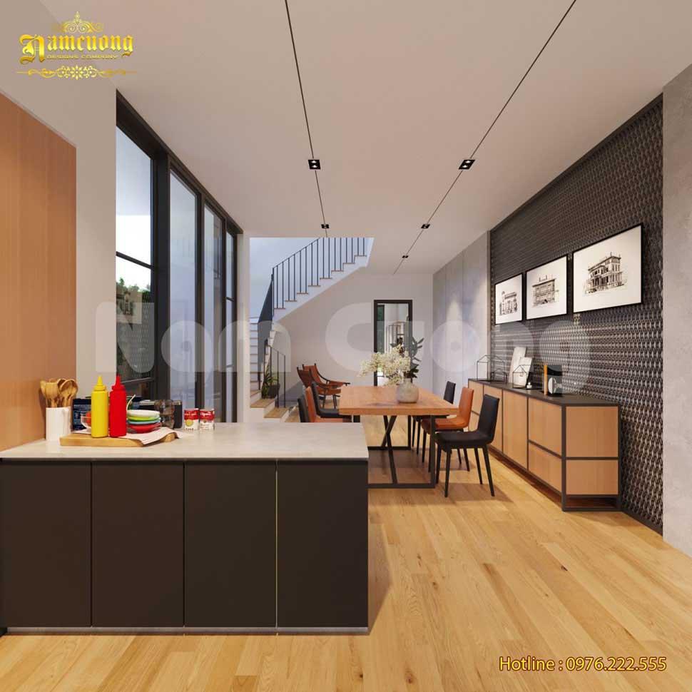 phòng bếp công nghiệp biệt thự hiện đại