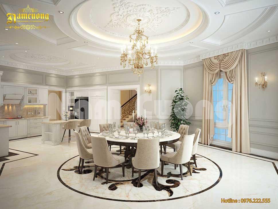 thiết kế bếp ăn biệt thự tân cổ điển