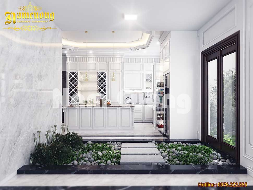 nội thất phòng bếp màu trắng tân cổ điển
