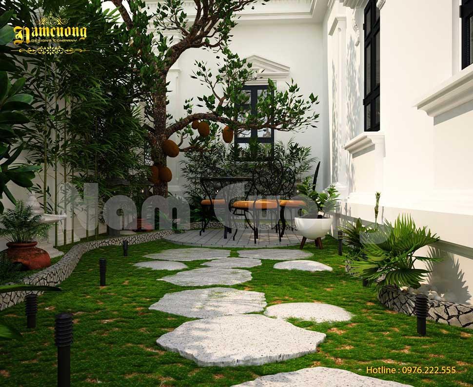 thiết kế sân vườn mini
