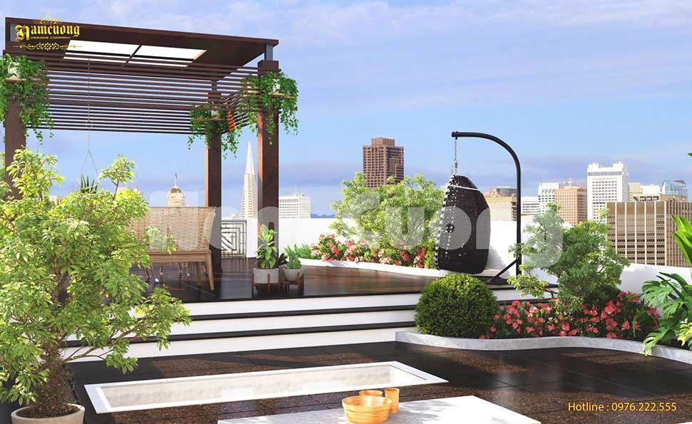 sân vườn trên sân thượng